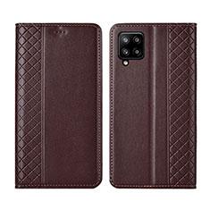 Coque Portefeuille Livre Cuir Etui Clapet pour Samsung Galaxy A42 5G Marron