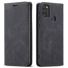 Coque Portefeuille Livre Cuir Etui Clapet pour Samsung Galaxy M21 Noir