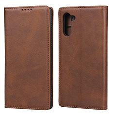 Coque Portefeuille Livre Cuir Etui Clapet pour Samsung Galaxy Note 10 5G Marron