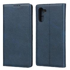 Coque Portefeuille Livre Cuir Etui Clapet pour Samsung Galaxy Note 10 Bleu