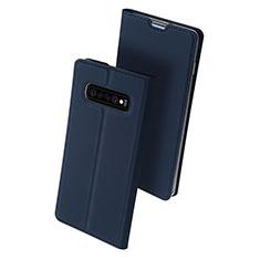 Coque Portefeuille Livre Cuir Etui Clapet pour Samsung Galaxy S10 Plus Bleu