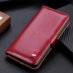 Coque Portefeuille Livre Cuir Etui Clapet pour Samsung Galaxy S21 5G Vin Rouge