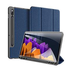 Coque Portefeuille Livre Cuir Etui Clapet pour Samsung Galaxy Tab S7 4G 11 SM-T875 Bleu
