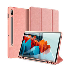 Coque Portefeuille Livre Cuir Etui Clapet pour Samsung Galaxy Tab S7 Plus 12.4 Wi-Fi SM-T970 Rose