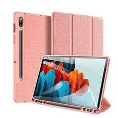 Coque Portefeuille Livre Cuir Etui Clapet pour Samsung Galaxy Tab S7 Plus 5G 12.4 SM-T976 Rose