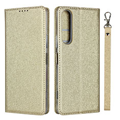 Coque Portefeuille Livre Cuir Etui Clapet pour Sony Xperia 1 II Or