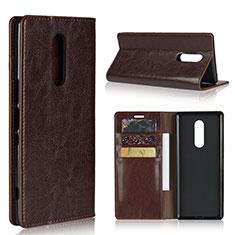 Coque Portefeuille Livre Cuir Etui Clapet pour Sony Xperia 1 Marron