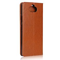 Coque Portefeuille Livre Cuir Etui Clapet pour Sony Xperia 8 Brun Clair