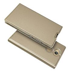 Coque Portefeuille Livre Cuir Etui Clapet pour Sony Xperia L2 Or