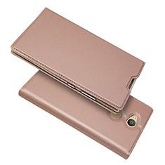 Coque Portefeuille Livre Cuir Etui Clapet pour Sony Xperia L2 Or Rose