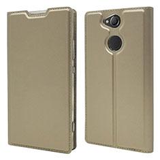 Coque Portefeuille Livre Cuir Etui Clapet pour Sony Xperia XA2 Or