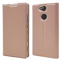 Coque Portefeuille Livre Cuir Etui Clapet pour Sony Xperia XA2 Plus Or Rose