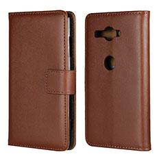 Coque Portefeuille Livre Cuir Etui Clapet pour Sony Xperia XZ2 Compact Marron