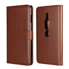 Coque Portefeuille Livre Cuir Etui Clapet pour Sony Xperia XZ2 Premium Marron