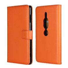 Coque Portefeuille Livre Cuir Etui Clapet pour Sony Xperia XZ2 Premium Orange