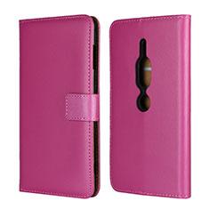 Coque Portefeuille Livre Cuir Etui Clapet pour Sony Xperia XZ2 Premium Rose Rouge