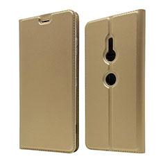 Coque Portefeuille Livre Cuir Etui Clapet pour Sony Xperia XZ3 Or