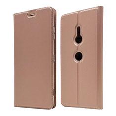 Coque Portefeuille Livre Cuir Etui Clapet pour Sony Xperia XZ3 Or Rose