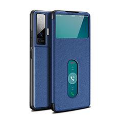 Coque Portefeuille Livre Cuir Etui Clapet pour Vivo X50 5G Bleu