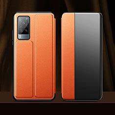 Coque Portefeuille Livre Cuir Etui Clapet pour Vivo X60 5G Orange