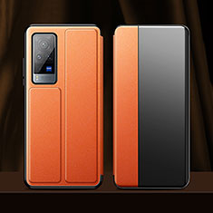 Coque Portefeuille Livre Cuir Etui Clapet pour Vivo X60 Pro 5G Orange