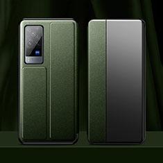 Coque Portefeuille Livre Cuir Etui Clapet pour Vivo X60 Pro 5G Vert Nuit