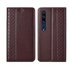 Coque Portefeuille Livre Cuir Etui Clapet pour Xiaomi Mi 10 Marron