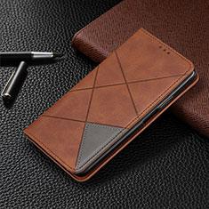Coque Portefeuille Livre Cuir Etui Clapet pour Xiaomi Redmi 10X Pro 5G Marron