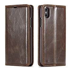 Coque Portefeuille Livre Cuir Etui Clapet T01 pour Apple iPhone Xs Max Marron