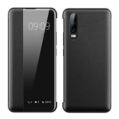 Coque Portefeuille Livre Cuir Etui Clapet T01 pour Huawei P30 Noir