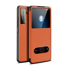 Coque Portefeuille Livre Cuir Etui Clapet T01 pour Huawei P40 Lite 5G Orange