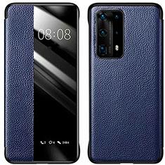 Coque Portefeuille Livre Cuir Etui Clapet T01 pour Huawei P40 Pro+ Plus Bleu