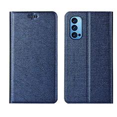 Coque Portefeuille Livre Cuir Etui Clapet T01 pour Oppo Reno4 Pro 5G Bleu