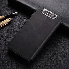 Coque Portefeuille Livre Cuir Etui Clapet T01 pour Samsung Galaxy A80 Noir