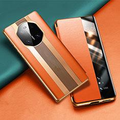 Coque Portefeuille Livre Cuir Etui Clapet T02 pour Huawei Mate 40 Orange