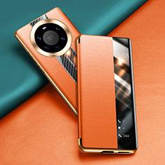 Coque Portefeuille Livre Cuir Etui Clapet T02 pour Huawei Mate 40 Pro+ Plus Orange