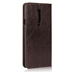 Coque Portefeuille Livre Cuir Etui Clapet T03 pour OnePlus 7T Pro Marron