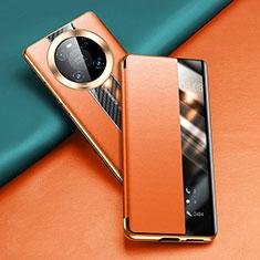 Coque Portefeuille Livre Cuir Etui Clapet T04 pour Huawei Mate 40 Pro Orange
