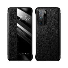 Coque Portefeuille Livre Cuir Etui Clapet T04 pour Huawei P40 Noir