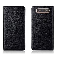 Coque Portefeuille Livre Cuir Etui Clapet T04 pour Samsung Galaxy A80 Noir