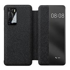Coque Portefeuille Livre Cuir Etui Clapet T05 pour Huawei P40 Pro Noir