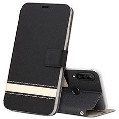 Coque Portefeuille Livre Cuir Etui Clapet T07 pour Huawei P30 Lite XL Noir