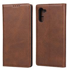 Coque Portefeuille Livre Cuir Etui Clapet T07 pour Samsung Galaxy Note 10 5G Marron