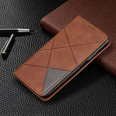 Coque Portefeuille Livre Cuir Etui Clapet T08 pour Oppo Reno4 Pro 5G Marron