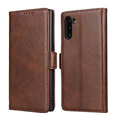 Coque Portefeuille Livre Cuir Etui Clapet T08 pour Samsung Galaxy Note 10 5G Marron