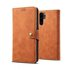 Coque Portefeuille Livre Cuir Etui Clapet T09 pour Huawei P30 Pro Orange