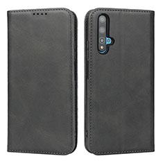 Coque Portefeuille Livre Cuir Etui Clapet T10 pour Huawei Honor 20 Noir