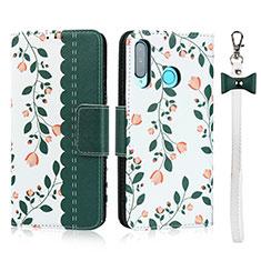 Coque Portefeuille Livre Cuir Etui Clapet T10 pour Huawei P30 Lite Vert