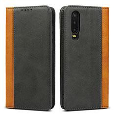 Coque Portefeuille Livre Cuir Etui Clapet T10 pour Huawei P30 Noir