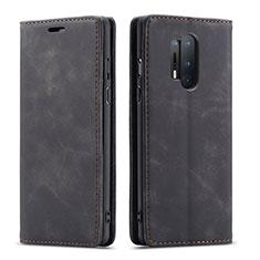 Coque Portefeuille Livre Cuir Etui Clapet T10 pour OnePlus 8 Pro Noir